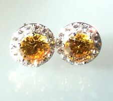 Real 925 Silver Simulated Yellow Diamond Removable Jacket Halo Stud Earrings