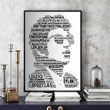 Bob Dylan tribute - Songs Word Art Portrait Memorabilia/Collectable/Gift