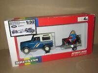 355O Britains 9657 England Land Rover Defender + Honda TRX + Remorque 1:32 Boite