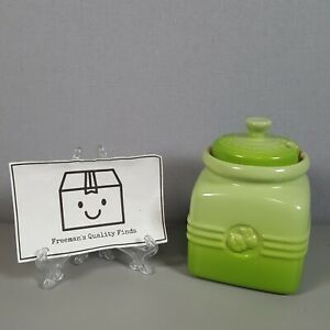 Le Creuset Two Tone Green Apple Sauce Condimant Jar & Lid (Rare Gd. Condition)