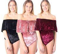 New Ladies Velour Crushed Velvet Womens Celeb Inspired Frill Party Bodysuit