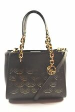 MICHAEL KORS 35F8G05T6L SOFIA PORTIA BLACK MEDIUM TOTE CROSSBODY BAG