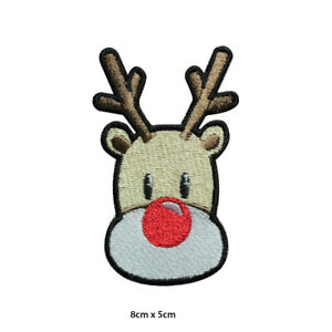 Reindeer Christmas Xmas Embroidered Patch Iron on Sew On Badge For Clothes etc
