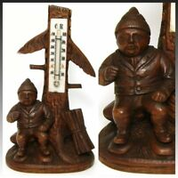 """Antique Black Forest Hand Carved Gnome 8"""" Thermometer Stand, a Charming Gnome"""