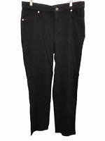 Isaac Mizrahi Women's Knit Denim Straight Leg Jeans Pant Black Size 14