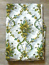 2 grands coupons de tissu, vert, jaune, Istria, vintage An 50, 2 X 2m60 par 1m25