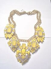 BIG BOLD YELLOW/ WHITE/ CZ NECKLACE 18 IN -NEW