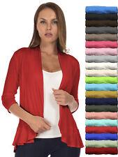 SR Women's 3/4 Sleeve Ruffle Hem Open Cardigan (Size: S-5X) AT1209