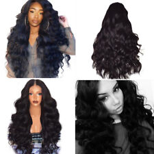 Black Curly Wavy Brazilian Remy Human Hair Body Wave No Lace Front Hair Wigs US