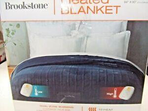 New-Open Box Brookstone Queen  Sized Dual-Zone Heated Blanket in Dark Blue