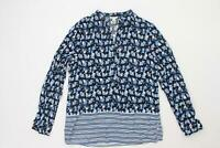 Cato Women's Blue , Black Floral V Neck Long Sleeve Tunic Top Size L