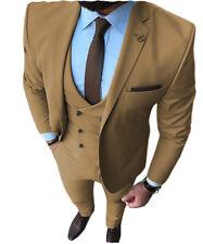 Classic Mens Suit 3Pieces Notch Lapel Solid Tuxedos Groomsman Blazer+Vest+Pants+