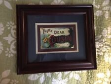 """Professionally Framed Vintage Postcard """"To My Dear Cousin"""" Blue Wine And Yellow"""