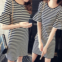 Korean Womens Casual Loose Slim Striped Pullover Short Sleeve Tunic Shift  Dress