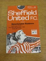 28/10/1967 Sheffield United v Wolverhampton Wanderers  (Team Changes). Thanks fo