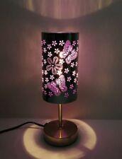 Silver Metal Touch Lamp  Purple Butterfly JU10A2