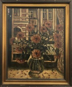 Berthold Mügge View from The Window Flowers Worpswede Bremen To Restore