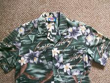 Mens Shirt Hawaii Tropical  Blues Gr Wh Br Blk size M S/S