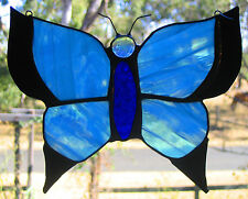 ARCTIC ICE BLUE STAINED GLASS BUTTERFLY suncatcher Ready to Hang Christmas Gifts