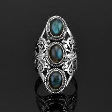 Labradorite 925 Sterling Silver Ladies Multi Stone Ring Gemstone Boxed Jewellery