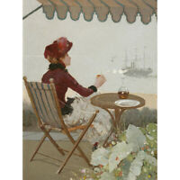 Jean Beraud Seaside Cafe 1884 Painting Canvas Wall Art Print Poster