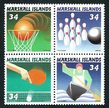 MARSHALL ISLANDS, SCOTT # 783, BLOCK OF 4 SPORTS: BASKETBALL, BOWLING, TENNIS