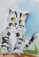 aceo gray stripped kitty cat kitten miniature watercolor Collectible Delilah art