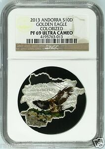 2013 Andorra Golden Eagle Map Shaped .999 Silver German Coin NGC PF69 Germany