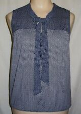 Ann Taylor Loft XS BLACK white geo poly rayon shell blouse top elastic hem XC
