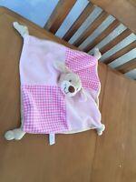 Keel Toys pink teddy bear baby comforter soft blanket blankie
