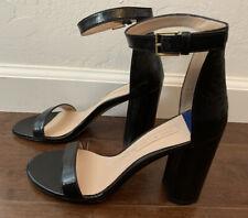 NIB Stuart Weitzman Black Gleaming Tripon Heel Sandal 7.5