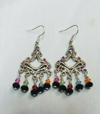 "Handmade Multi-Color Tibetan silver Rhinestone Crystal Beaded Earrings 2.5"" Long"