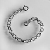HEAVY 925 Sterling Silver Necklace Necklet Extender Safety Chain 1 Bolt Clasp