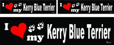 3 I love my Kerry Blue Terrier dog bumper vinyl stickers decals 1 large 2 small