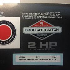 Briggs & Stratton 2-hp 1978-1980 Shroud Labels Decals set of 3