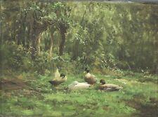 Constant Artz (Dutch, 1870-1951) Oil painting, ducklings in Landscape signed