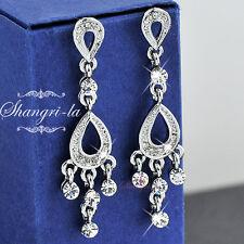 925 Sterling Silver White Gold Plated Dangle Earrings SWAROVSKI CRYSTAL FER019
