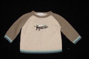 EUC Janie & Jack Boys Beige Brown & Blue Airplane Wool Blend Sweater 6-12 M VHTF