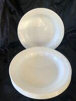 5 Corelle Windward White Flat Edged Soup Bowls Swirl Border Corning VERY RARE
