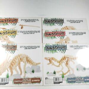 Professor Puzzle Dinosaur Construction Kits - Wooden Models - Lot of 6 Dinosaurs