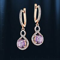 Russische Rose Rotgold 585 Ohrringe mit Amethyst  Earrings rose gold