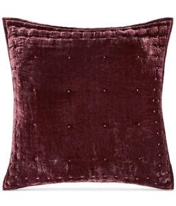 Martha Stewart (1) EURO Pillow Sham Tufted Velvet BURGUNDY NWT $100