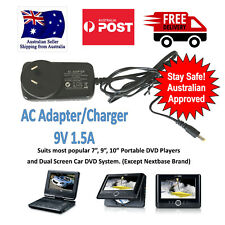 "AC Adaptor Charger 9V 1.5 Amp for 7"" 9"" 10"" Portable DVD, Dual Screen DVD"