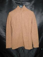 Ibex L Brown Merino Wool Cardigan Sweater Jacket Full Zip Mock Neck Womens Lg