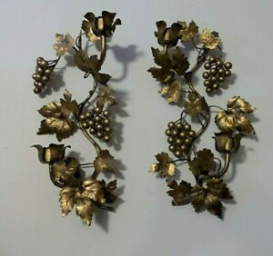 """Pair of 16"""" H ORNATE ITALIAN ORMOLU GOLD LEAVES AND GRAPES CANDLE SCONCES"""