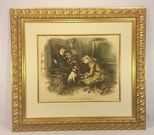 Ant Thomas Nast Print of Children with Dog Christmas Fancies Wood Frame Matted