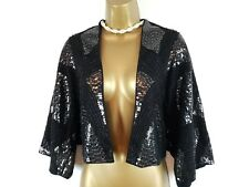 PHASE EIGHT Black Beaded Gatsby 20s Sequin Shrug Bolero Jacket UK 14 16 18