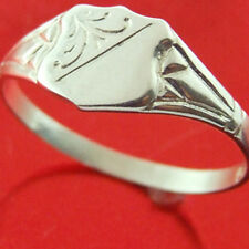 RING KEEPSAKE 925 STERLING SILVER UNISEX ANTIQUE SIGNET DESIGN KIDS SIZE H / 4
