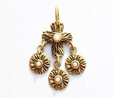 Gold tone faux pearl maltese cross with charms CHARM pendant