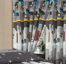 COPS & ROBBERS CHILDRENS KIDS BOYS 66 X 72 CURTAINS & TIE BACKS CITY SCAPE GREY